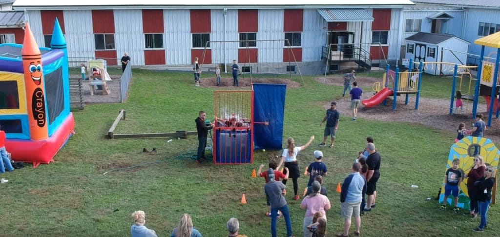 dunk tank drone view harvest festival